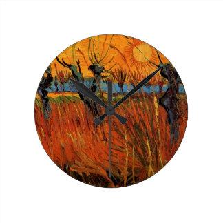 Van- Goghweiden am Sonnenuntergang, Vintager Runde Wanduhr