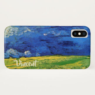 Van- Goghweizen-Feld unter einem bewölkten Himmel iPhone X Hülle