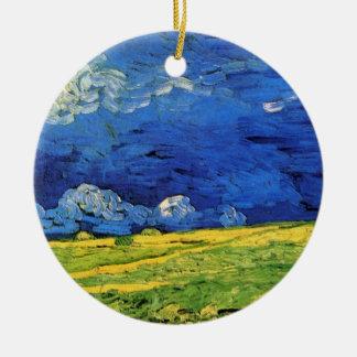 Van- Goghweizen-Feld unter einem bewölkten Himmel Keramik Ornament