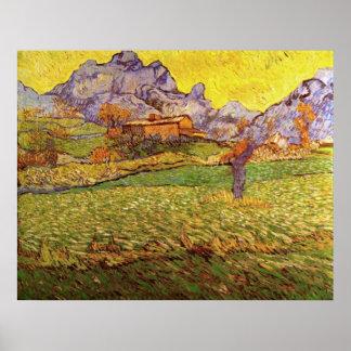 Van- Goghwiese in den Bergen: Le Mas de Saint Paul Poster