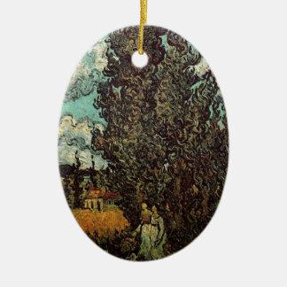 Van- Goghzypressen und zwei Frauen, Vintage feine Keramik Ornament
