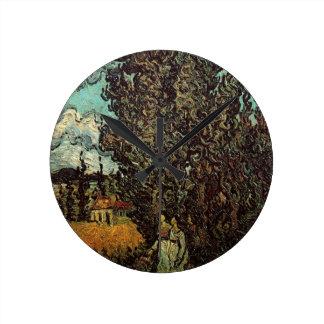 Van- Goghzypressen und zwei Frauen, Vintage feine Runde Wanduhr