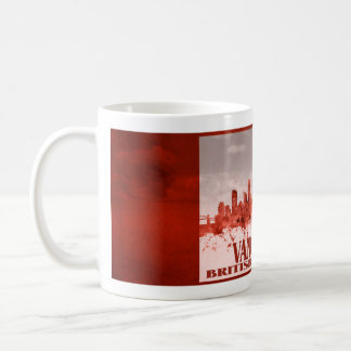 Vancouver-Skyline mit rotem Schmutz Kaffeetasse