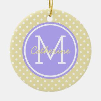 Vanille-blaue Flieder und weißes Tupfen-Monogramm Keramik Ornament