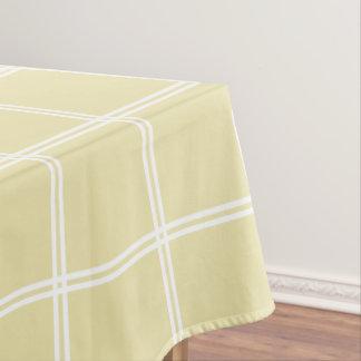 Vanille-Creme und weißer doppelter Streifen Tischdecke