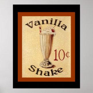 Vanille-Erschütterungs-Vintages Anzeigen-Plakat 16 Poster