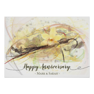 Vanille-Orchideen-Blumen-abstrakte Poster