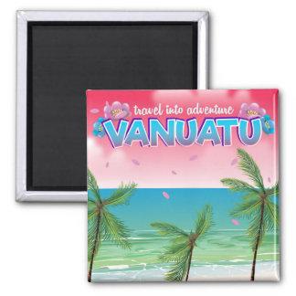 """Vanuatu""""Reise in Abenteuer"""" Reiseplakat Quadratischer Magnet"""