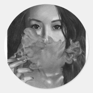 Vape Dame Smoking Hot Design Runder Aufkleber
