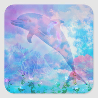 Vaporwave Delphin im Himmel Quadratischer Aufkleber