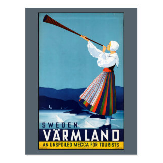 Varmland, Vintages Reise-Plakat Schwedens Postkarte
