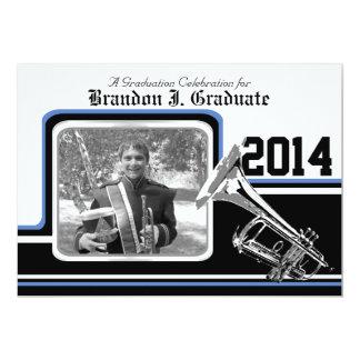 Varsity-Band-Trompete-Abschluss-Foto-Blau 12,7 X 17,8 Cm Einladungskarte