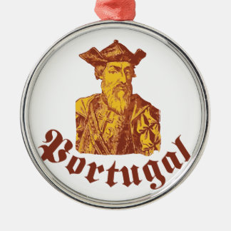 Vasco da Gama Portugal Rundes Silberfarbenes Ornament