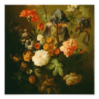 Vase Blumen bis Januar van Huysum Fotodruck