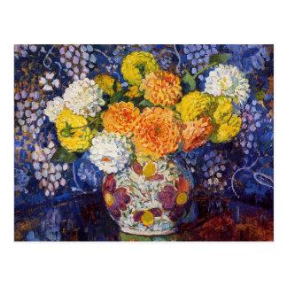 Vase Blumen durch Theo van Rysselberghe Postkarte