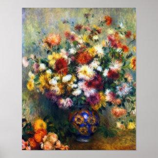 Vase Chrysantheme-schöne Kunst durch Renoir Poster