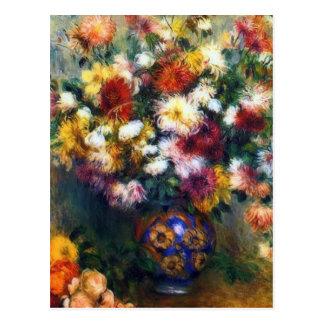 Vase Chrysantheme-schöne Kunst durch Renoir Postkarte