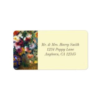 Vase Chrysanthemen Renoir schöne Kunst Adressaufkleber