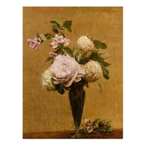 Vase Henri Fantin-Latour- Pfingstrosen und Postkarte