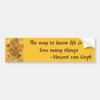 Vase mit 15 Sonnenblumen durch Vincent van Gogh Autoaufkleber