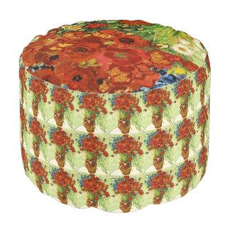 Vase mit Cornflowers-und Mohnblumen-rundem Puff Hocker