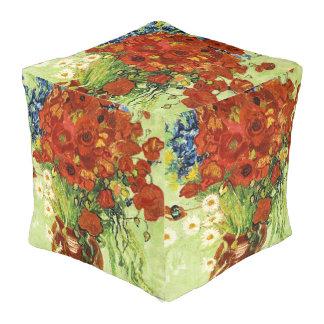 Vase mit Cornflowers-und Mohnblumen-Würfel-Puff Kubus Sitzpuff