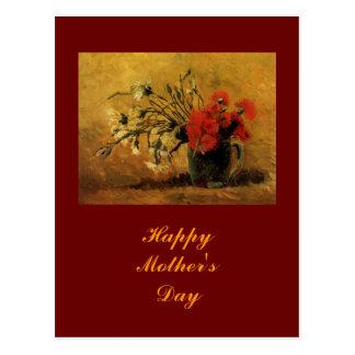 Vase mit den roten und weißen Gartennelken, Van Postkarte