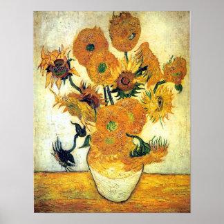 Vase mit fünfzehn Sonnenblumen durch Vincent van G Poster