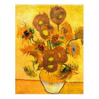 Vase mit fünfzehn Sonnenblumen durch Vincent van Postkarte
