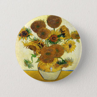 Vase mit fünfzehn Sonnenblumen durch Vincent van Runder Button 5,7 Cm
