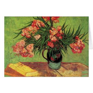Vase mit Oleandern und Büchern durch Van Gogh Karte
