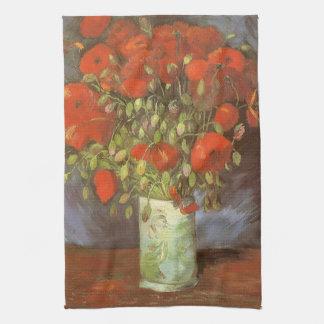 Vase mit roten Mohnblumen durch Vincent van Gogh Geschirrtuch