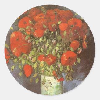 Vase mit roten Mohnblumen durch Vincent van Gogh Runder Aufkleber