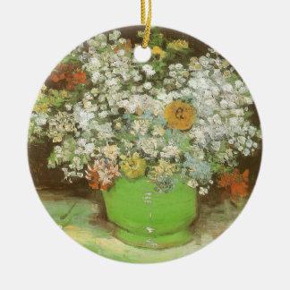 Vase mit Zinnias und Blumen durch Vincent van Gogh Keramik Ornament