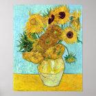 Vase mit zwölf Sonnenblumen durch Vincent van Gogh Poster