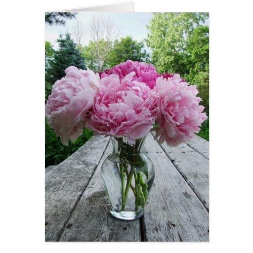 vase rosa pfingstrosen gru karten zazzle. Black Bedroom Furniture Sets. Home Design Ideas