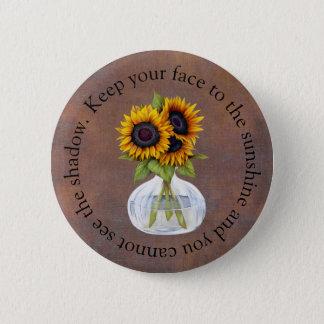 Vase Sonnenblumen behalten Ihr Gesicht zum Runder Button 5,7 Cm