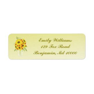 Vase Sonnenblumen Rückversand-Adressaufkleber