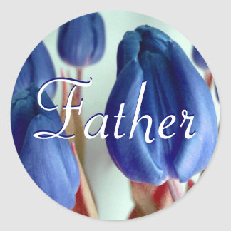 Vater-blaue Tulpe-Aufkleber Runder Aufkleber