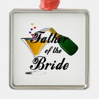 Vater des Braut-Champagne-Toasts Silbernes Ornament