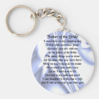 Vater des Braut-Gedichtes - blaue Seide Schlüsselanhänger