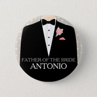 Vater des Braut Tuxedonamenhochzeits-Buttonknopfes Runder Button 5,7 Cm