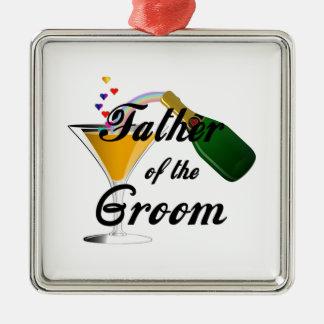 Vater des Bräutigam-Champagne-Toasts Silbernes Ornament
