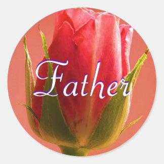 Vater-rosa Rosen-Aufkleber Runder Aufkleber