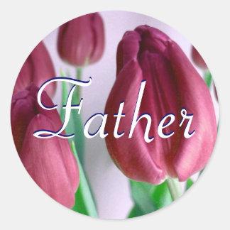Vater Rosey Tulpe-Aufkleber Runder Aufkleber