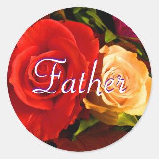Vater-roter gelber Rosen-Aufkleber Runder Aufkleber