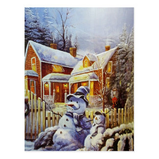 Vater-u. Sohn-Schneemann Postkarte
