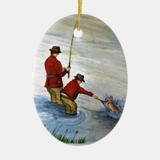 Vater- und Sohn-Angelausflug Keramik Ornament