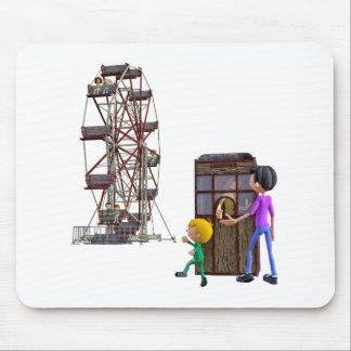 Vater und Sohn bereit, ein Riesenrad zu reiten Mousepad