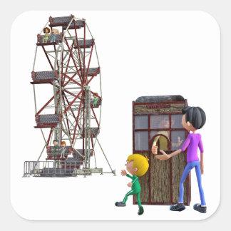 Vater und Sohn bereit, ein Riesenrad zu reiten Quadratischer Aufkleber